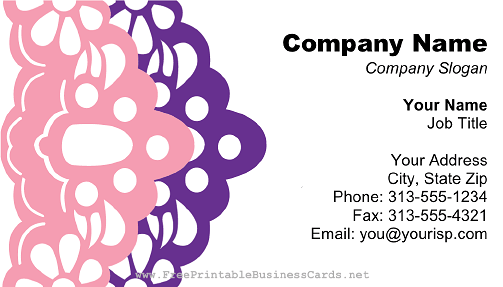 Purple and Pink Lace business card