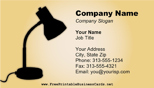 Desk Lamp business card