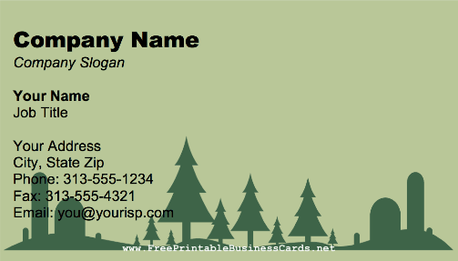 Landscaping Silhouette business card