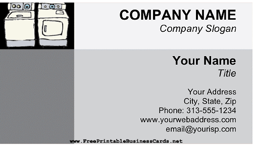 Laundromat business card