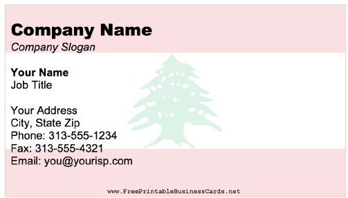 Lebanon Business Card business card