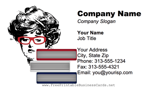 Librarian With Books business card