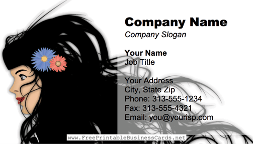 Long Black Hair business card