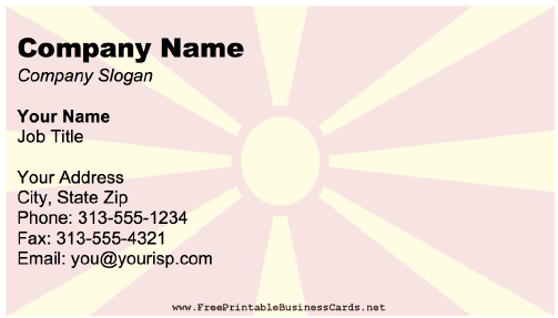 Macedonia Business Card business card