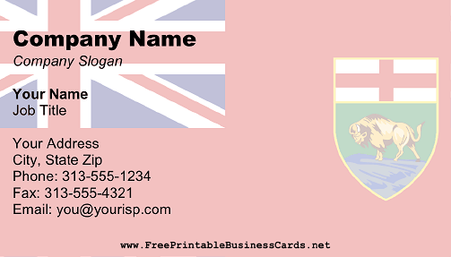 Manitoba Flag business card