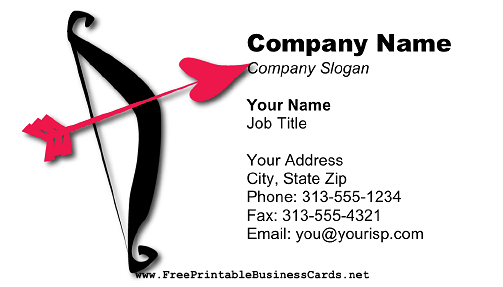 Matchmaker Bow and Arrow business card