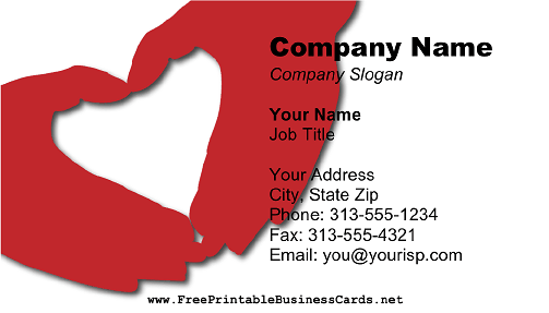 Heart Hands business card
