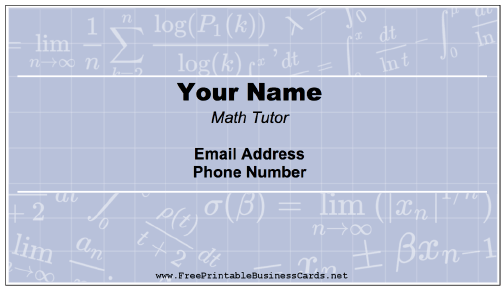 Math Tutor Business Card business card