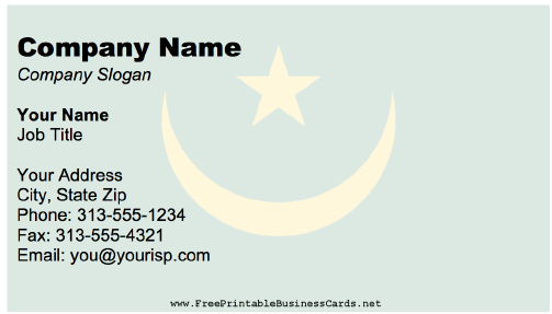 Mauritania business card