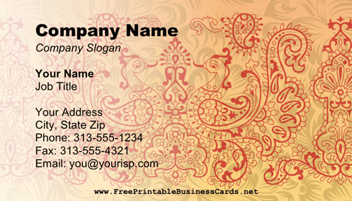 Mehndi business card
