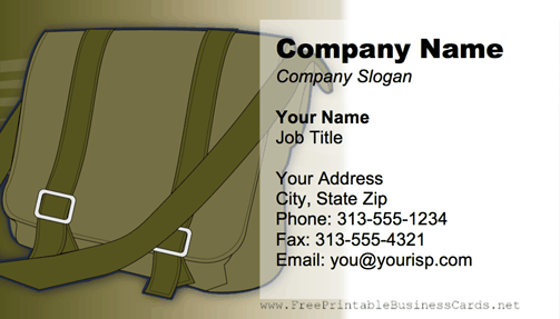 Messenger Bag Green business card