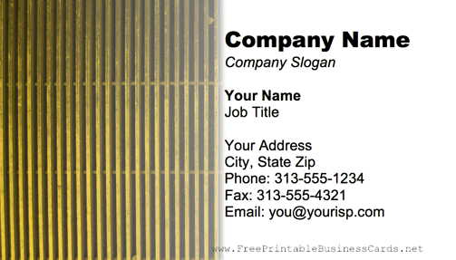 Metal Grill Yellow business card