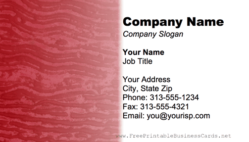 Metal Texture Wavy Red business card