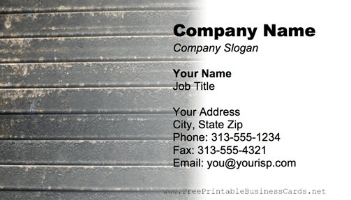 Metal Texture Striped Gray business card