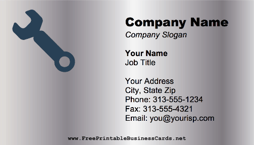 Metal Wrench business card