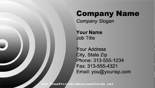 Metallic Rings business card