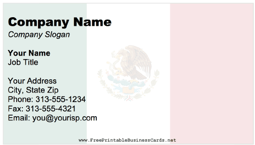 Mexico Business Card business card
