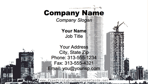 Miami Skyline Yellow business card