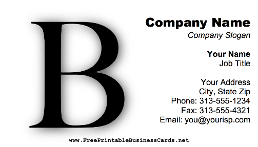 Monogram B business card