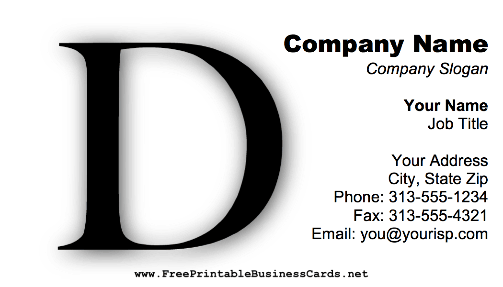 Monogram D business card