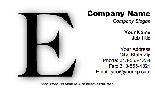 Monogram E business card