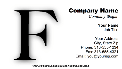 Monogram F business card