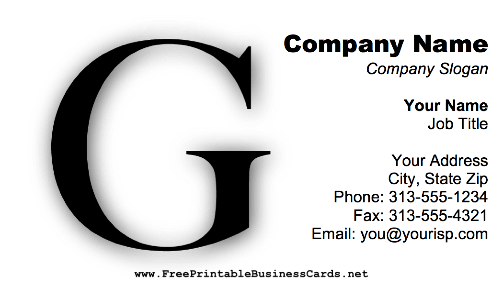 Monogram G business card