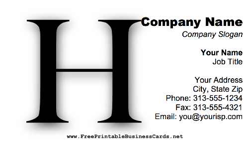 Monogram H business card