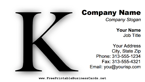 Monogram K business card