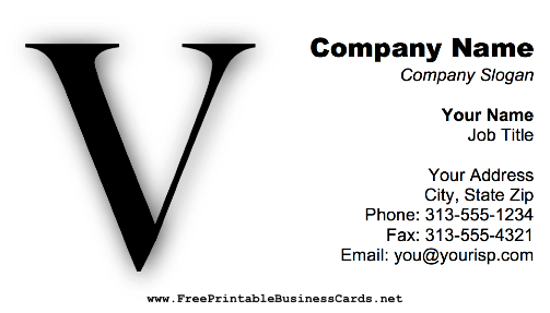 Monogram V business card