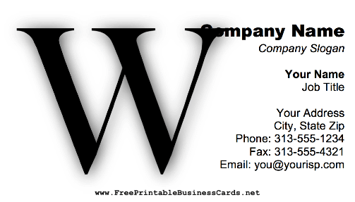 Monogram W business card