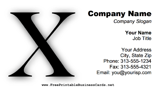 Monogram X business card
