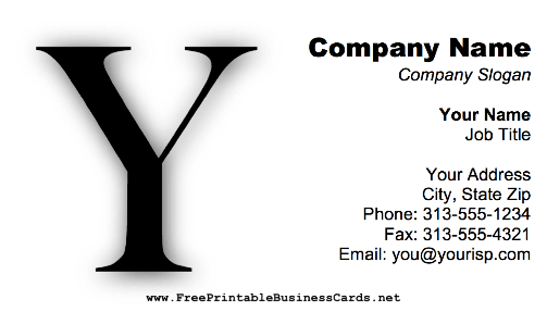 Monogram Y business card