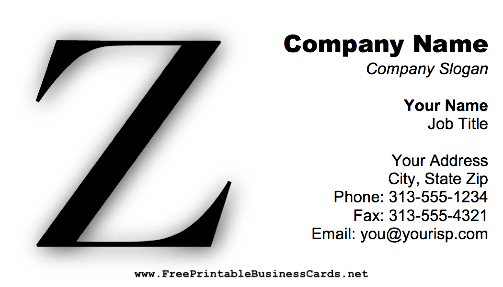 Monogram Z business card