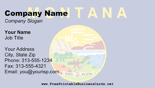 Montana Flag business card