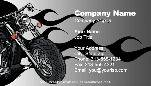 Flame Motorcycle business card