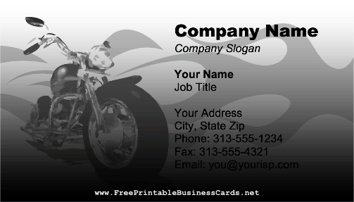 Motorcycle Flames business card