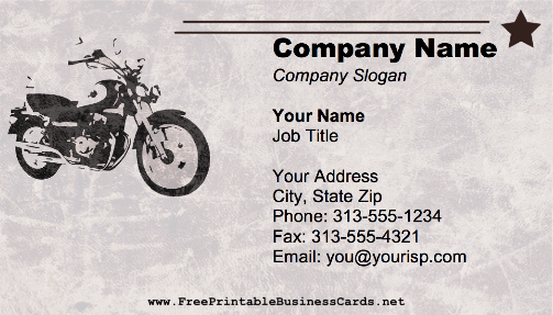 Motorcycle Star business card
