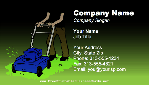Mowing business card