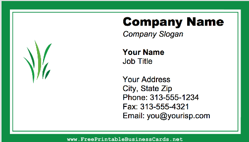 Mowing Grass business card