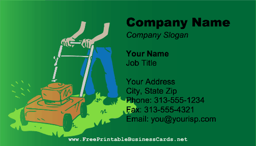 Mowing Green business card