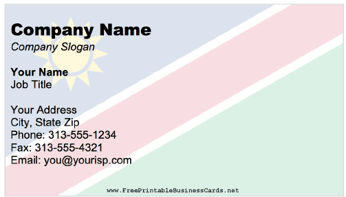 Namibia Business Card business card