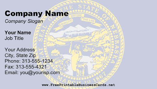 Flag of Nebraska business card