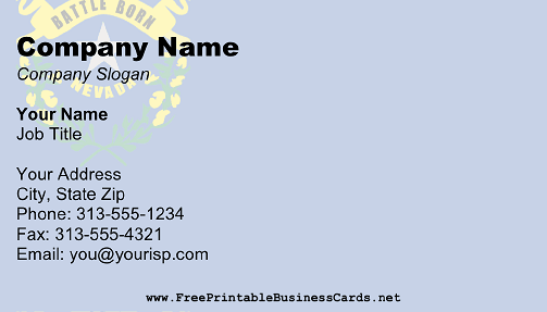 Nevada Flag business card
