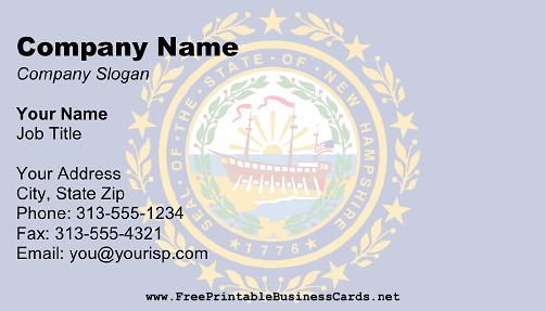 New Hampshire Flag business card
