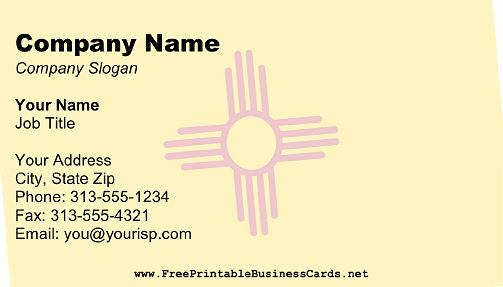 Flag of New Mexico business card