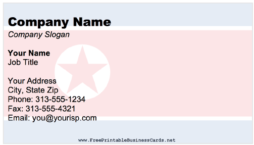 North Korea Business Card business card