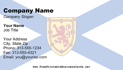 Nova Scotia Flag business card