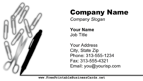 Paper Clips and Pen business card