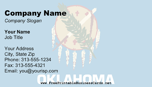Oklahoma Flag business card